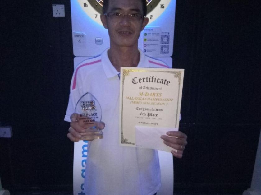 Picture M-Darts Malaysia Championship 2016 Season 3 winner